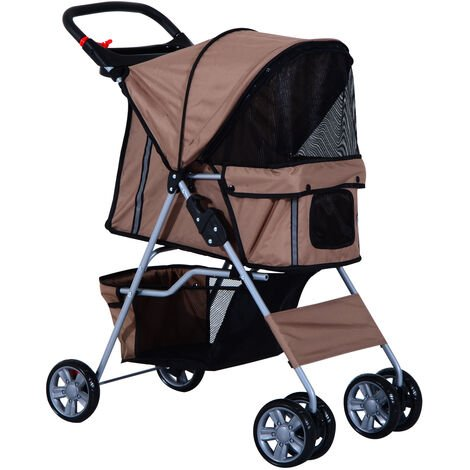 PawHut Pet Stroller Cat Dog Wheels Travel Zipper Entry Foldable Carrier Cart Cup Holder Brown
