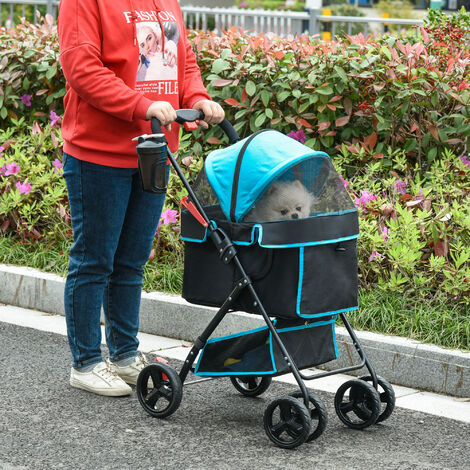 """main image of """"PawHut Pet Stroller Foldable Carriage w/ Brake Basket Canopy Removable Cloth"""""""