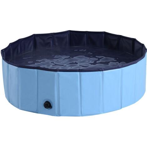 PawHut Pet Swimming Pool Indoor / Outdoor Bathing Tub Foldable - Φ100 x 30H (cm), Blue