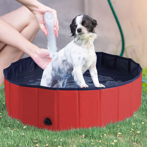 PawHut Pet Swimming Pool Indoor / Outdoor Bathing Tub Foldable - Φ100 x 30H (cm), Red
