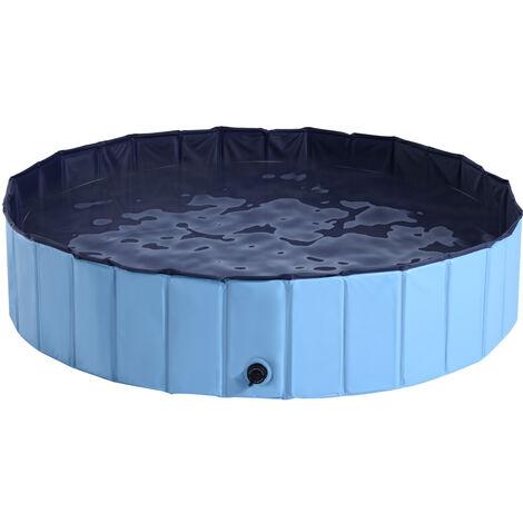 PawHut Pet Swimming Pool Indoor / Outdoor Bathing Tub Foldable - Φ140 x 30H (cm), Blue