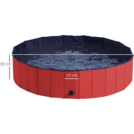 PawHut Pet Swimming Pool Indoor / Outdoor Bathing Tub Foldable - Φ140 x 30H (cm), Red