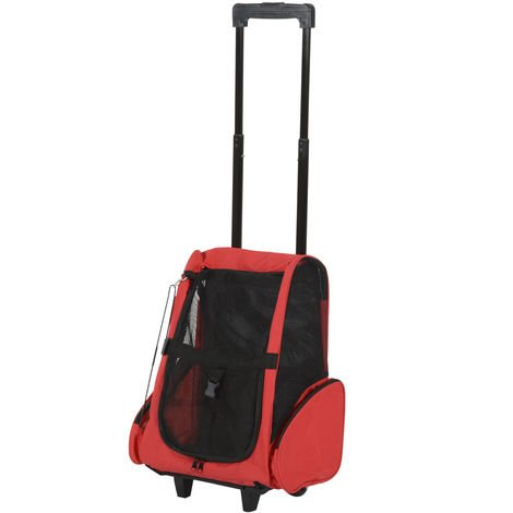 PawHut Pet Travel Backpack Bag Cat Puppy Dog Carrier w/ Trolley and Telescopic Handle Portable Stroller Wheel Luggage Bag
