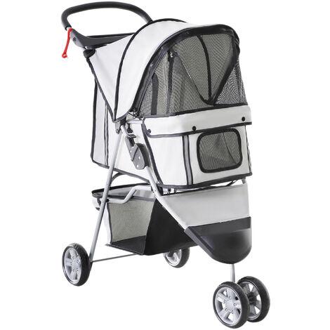 PawHut Pet Travel Stroller Cat Dog Pushchair Trolley Puppy Jogger Carrier Three Wheels (Gray)