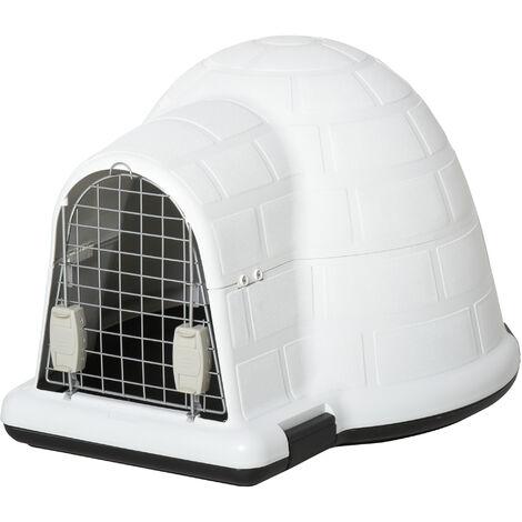 PawHut Plastic Igloo-Design Dog House Puppy Pet Shelter w/ Windows Metal Door