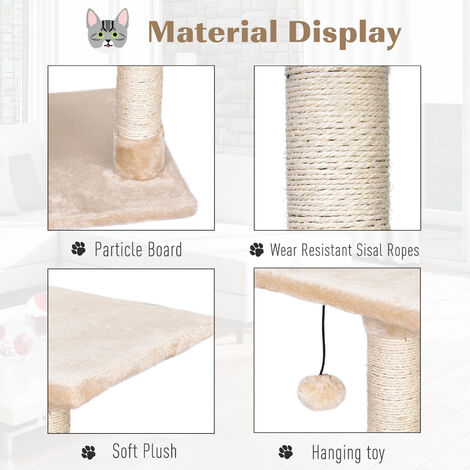 PawHut Plush Cat Tree w/ House Ramp Play Ball Top Perch Scratching Post Beige