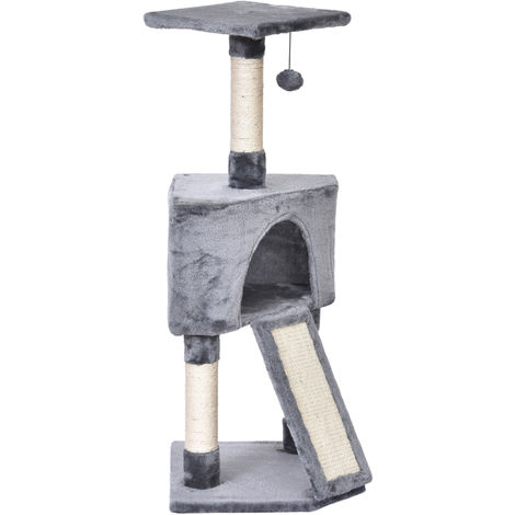 PawHut Plush Cat Tree w/ House Ramp Play Ball Top Perch Scratching Post Grey