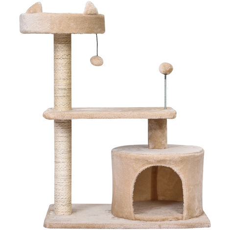 PawHut Plush Covered 3-Level Cat Activity Tree House Perch Platform Kitten