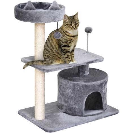 PawHut Plush Covered 3-Level Cat Activity Tree House Perch Platform Kitten