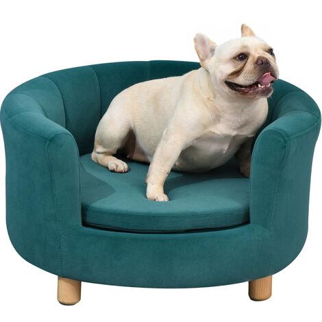 "main image of ""PawHut Plush & Luxurious Round Pet Bed w/ Cushion Small Dog Cat Animal Green"""
