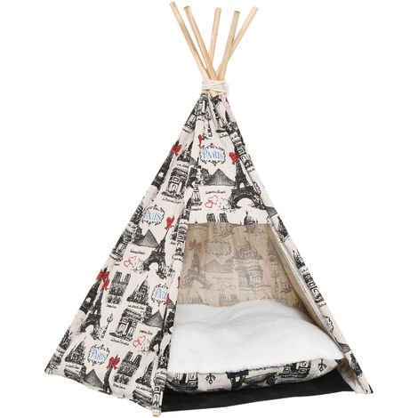 PawHut Portable Canvas Pet Teepee Tent Foldable Cat Bed Dog Removable Washable Cushion