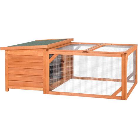 PawHut Rabbit Hutch Small Animal Guinea Pig House Off-Ground w/ House Run