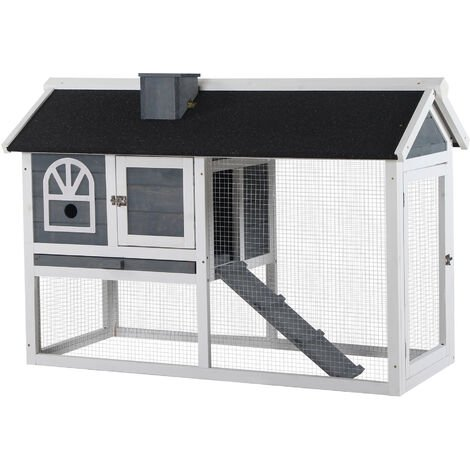 PawHut Rabbit Hutch Wood Bunny Cage for Outdoor Indoor w/ Pull Out Tray Grey