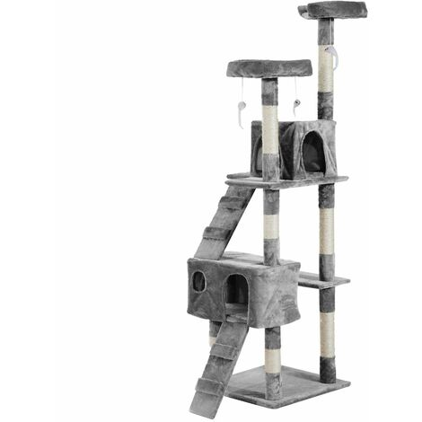PawHut Rascador Árbol para Gatos de Niveles con Cuevas Escaleras Juguetes Arbol de Gato