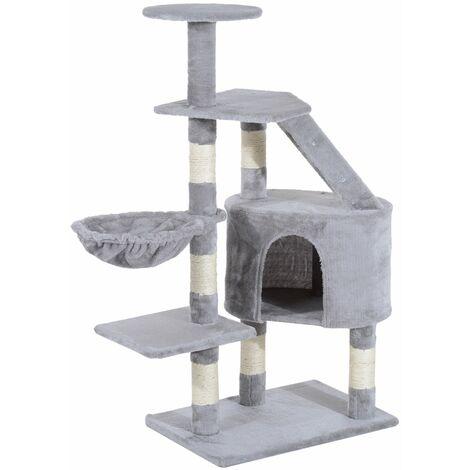 PawHut Rascador Árbol para Gatos Poste Centro 55x40x125cm Arañar Dormir Jugar Felpa