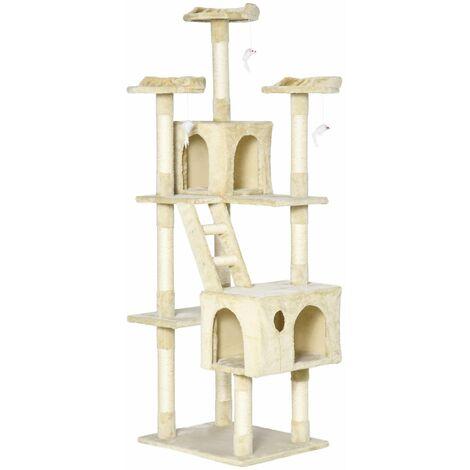 PawHut Rascador Gato Altura 180x60x50cm Arbol Poste Gato Arañar Centro Actividad Beige