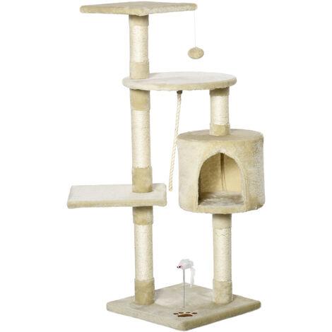 PawHut Rascador Gato de 4 Pisos 112cm de altura Árbol Poste para Arañar Centro Juegos