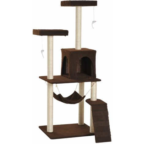 PawHut Rascador para Gatos 150cm Árbol Rascador Grande Centro Actividad Sisal Natural