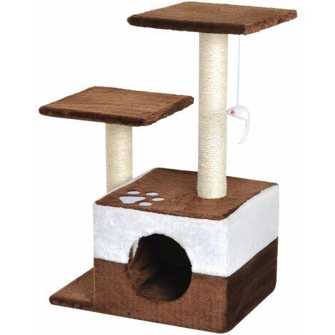 PawHut Rascador para Gatos 70cm Árbol Rascador Grande Centro Actividad Sisal Natural