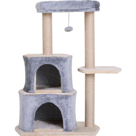 PawHut Rascador para Gatos 92cm Árbol Rascador Grande Centro Actividad Sisal Natural