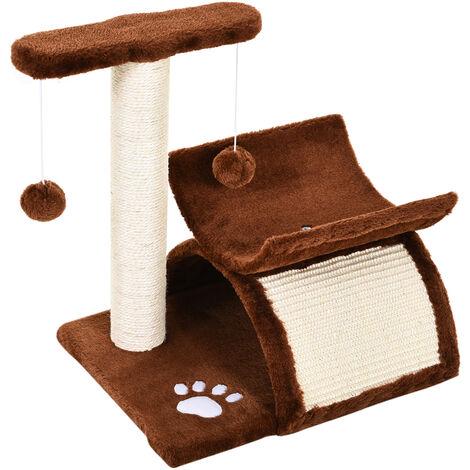 PawHut Rascador para Gatos Árbol Rascador Centro de Actividad 40x30x43cm Sisal Natural