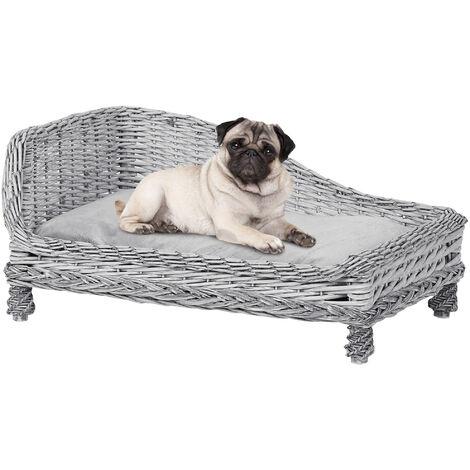 PawHut Rattan Wicker Pet Lounger Bed w/ Plush Cushion Home Sleep Relax Cat Dog