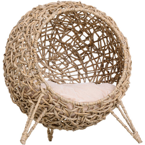 PawHut Rattan Wicker Sphere Cat Kitten Pet House Home Ball w/ Cushion Legs