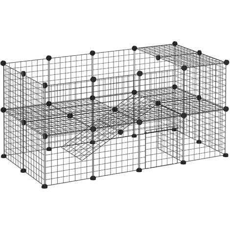 PawHut Recinto Gabbia Personalizzabile per Piccoli Animali Domestici in Metallo Nero 36 Pannelli 35x35cm