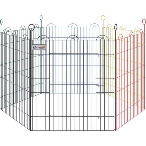 PawHut Recinto Modulabile per Animali Domestici in Filo Metallico Verniciato Colorato 6 Moduli 79 x 60 cm