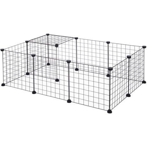 PawHut Recinto Modulare per Animali Domestici Nero 12 Moduli 35x35cm