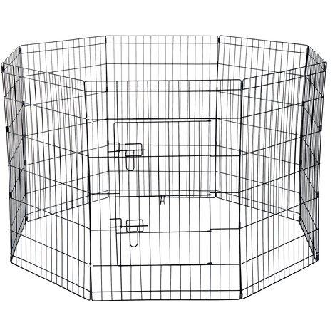 PawHut Recinto per Cani Gatti Cuccioli Roditori Recinzione Rete Gabbia 8 Pezzi 91 x 61cm Nero