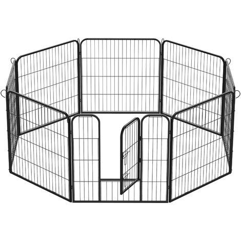 PawHut Recinto Recinzione per Cuccioli, Cani, Animali 8pz, 80x80cm, Nero