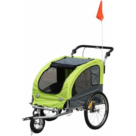 """main image of """"PawHut Remolque Bicicleta Perros Carro Cochecito para Transporte Mascota Barra de Paseo - Verde, Gris"""""""