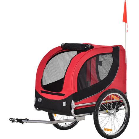 PawHut Remolque Bicicleta Perros Mascota 1 Bandera 6 Reflectores Remolque Bici Rojo Negro