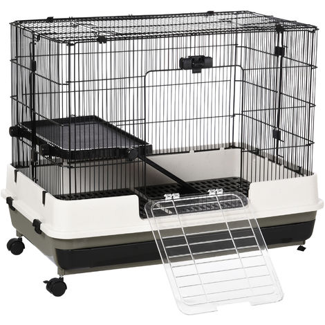 PawHut Small Animal Cage Metal Wire w/ Platform Ramp Hamster Guinea Pig Rat