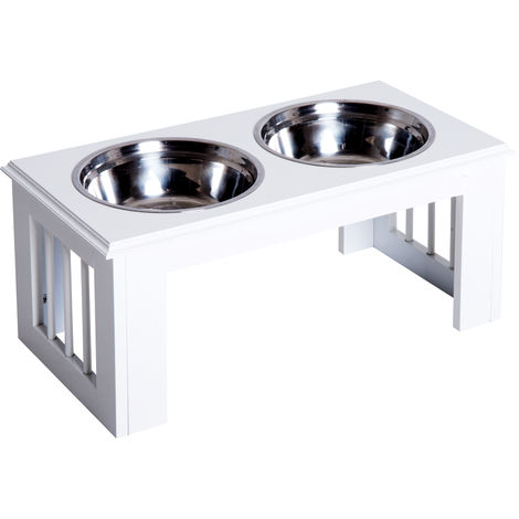PawHut Stainless Steel Pet Food Feeder Raised Elevated Twin Bowls Medium - White