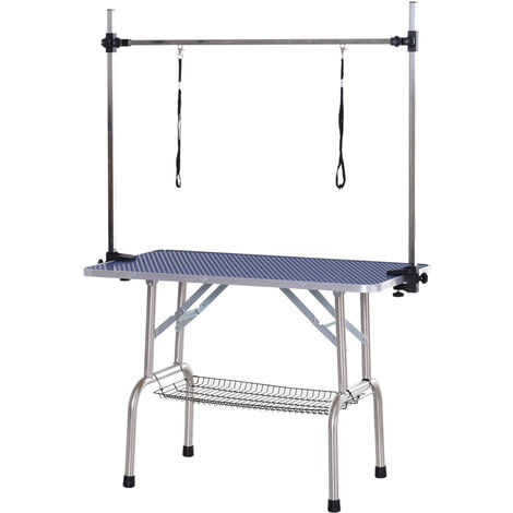 PawHut® Tierpflegetisch Trimmtisch Faltbar Schertisch Korb Verstellbare Stange Edelstahl 107 x 60 x 170 cm - blau