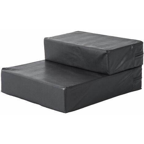 PawHut® Tiertreppe Hundetreppe Unterlage für Katzen und Hunde klappbar schwarz