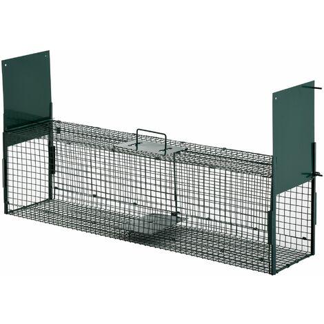 PawHut Trampa con 2 Puertas para Atrapar Animales Vivos con Asa 100x25x28 cm Verde - Verde Oscuro