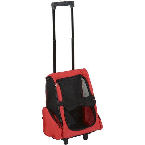 PawHut Transportin Carrito Perro 2 en 1 Mochila Carrito 36x30x49 cm Mascotas Rojo