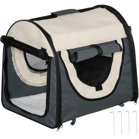 PawHut Transportin con Bolsa Transporte Perro Gato S (46 x 36 x 41) Mascotas Plegable Viaje Gris