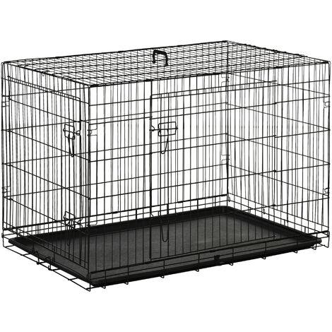PawHut Transportín de Perro de 2 Puertas Plegable con Asa Acero 106x71x76cm Negro - Negro