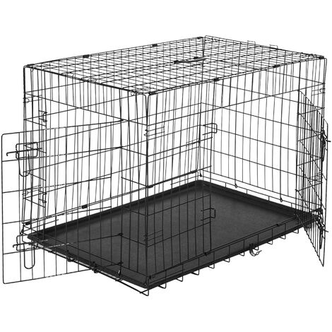PawHut Transportín de Perro de 2 Puertas Plegable con Asa Acero 122x77x82cm Negro - Negro