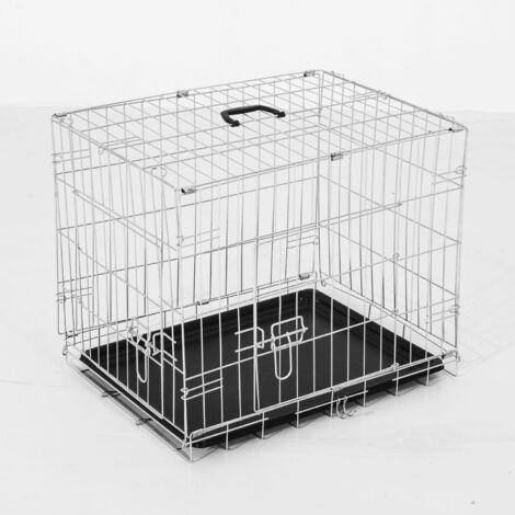 PawHut Transportin de Perros con 2 Puertas Asa Reja de Alambre Acero 76x53x57 cm Plateado