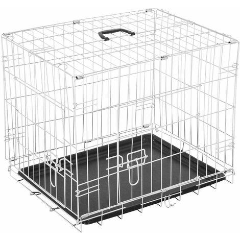 PawHut Transportin de Perros con 2 Puertas Asa Reja de Alambre Acero 91x61x67 cm Plateado