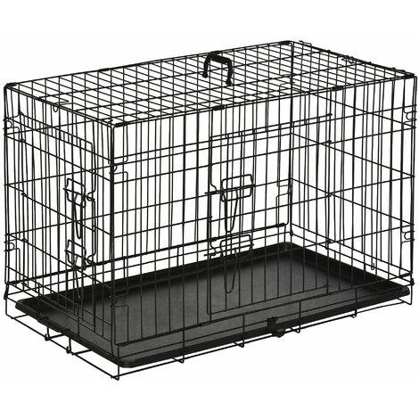 PawHut Transportin de Perros con Asa Transporte 2 Puertas Reja de Alambre 76x53x57 cm Negro