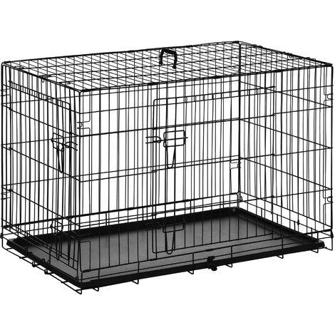 PawHut Transportin de Perros con Asa Transporte 2 Puertas Reja de Alambre 91x61x67 cm Negro