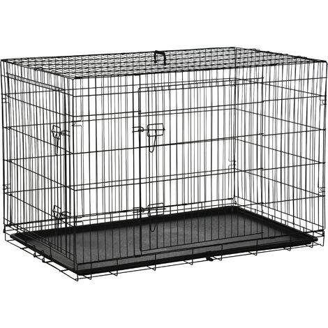 PawHut Transportin de Perros con Asa Transporte 2 Puertas Reja de Alambre 122x77x82 cm Negro
