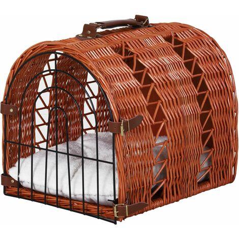 PawHut Transportín para Gatos con Cojín Doble Cierre y Asa 42x35x37 cm Mimbre