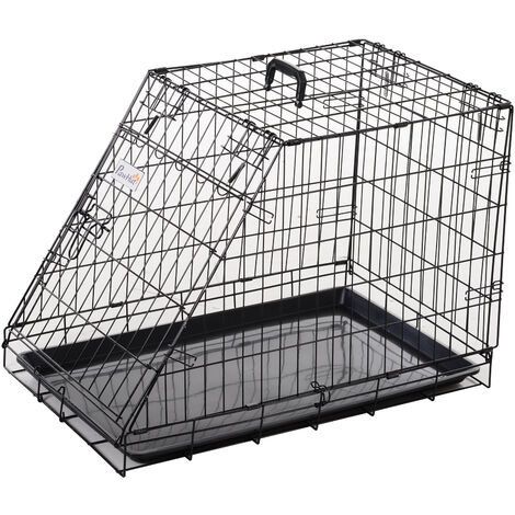 PawHut Trapeze Metal Collapsible Dog Cage w/ Handle Removable Tray 55x48cm